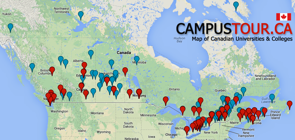 Canada Universities and Colleges Map